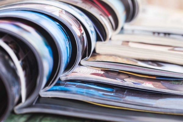 stacked magazines